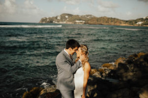 Shows a couple in a scenic setting